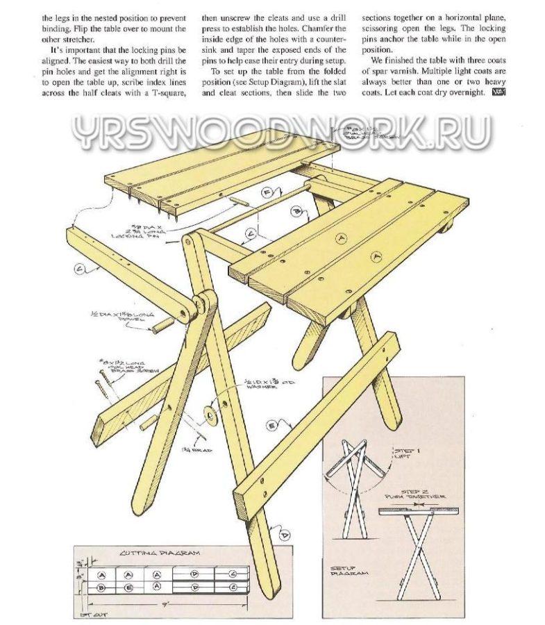Раскладной стол своими руками чертёж 324